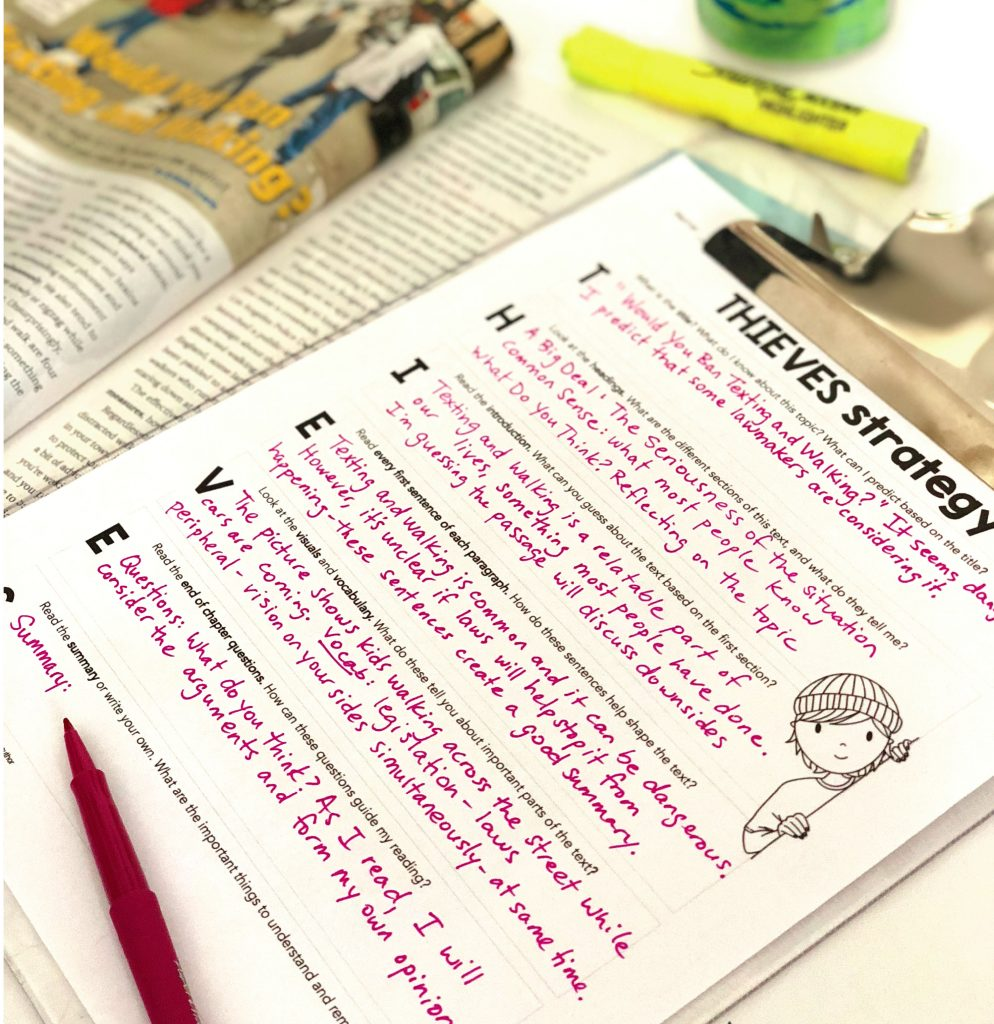 Free ELA downloads: THIEVES reading comprehension strategy graphic organizer