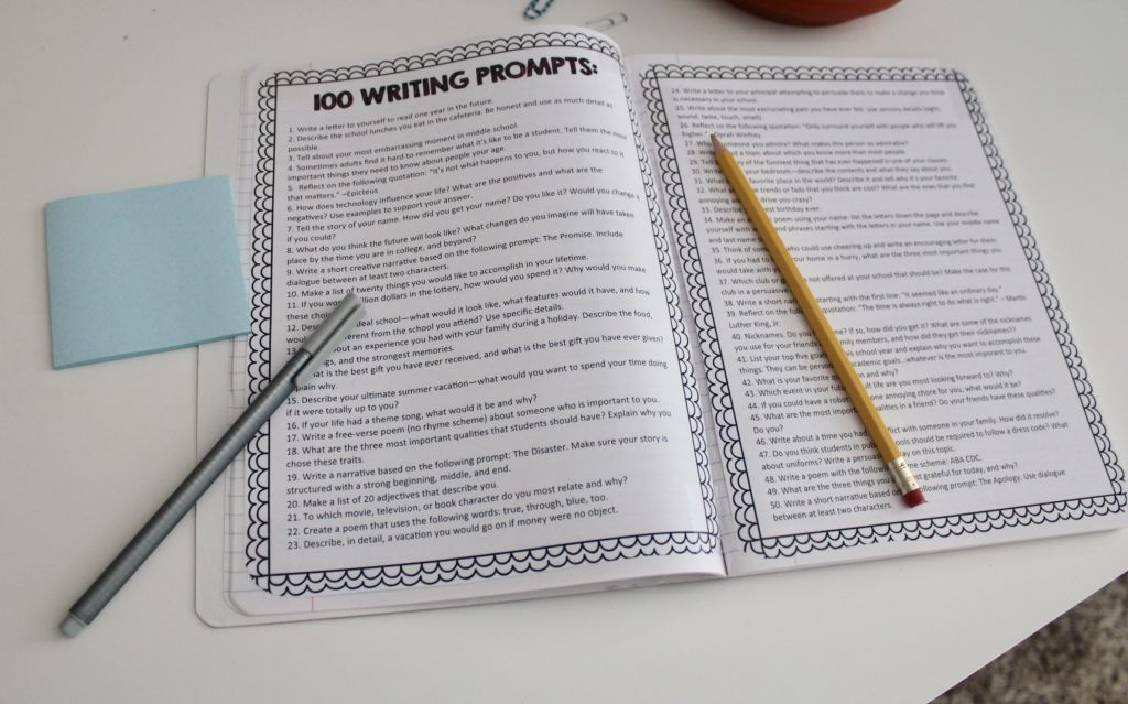 100 writing prompts for middle schoolers