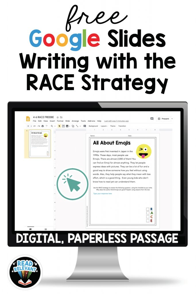 Free digital resource writing lesson plan: writing with the RACE Strategy for Google Slides