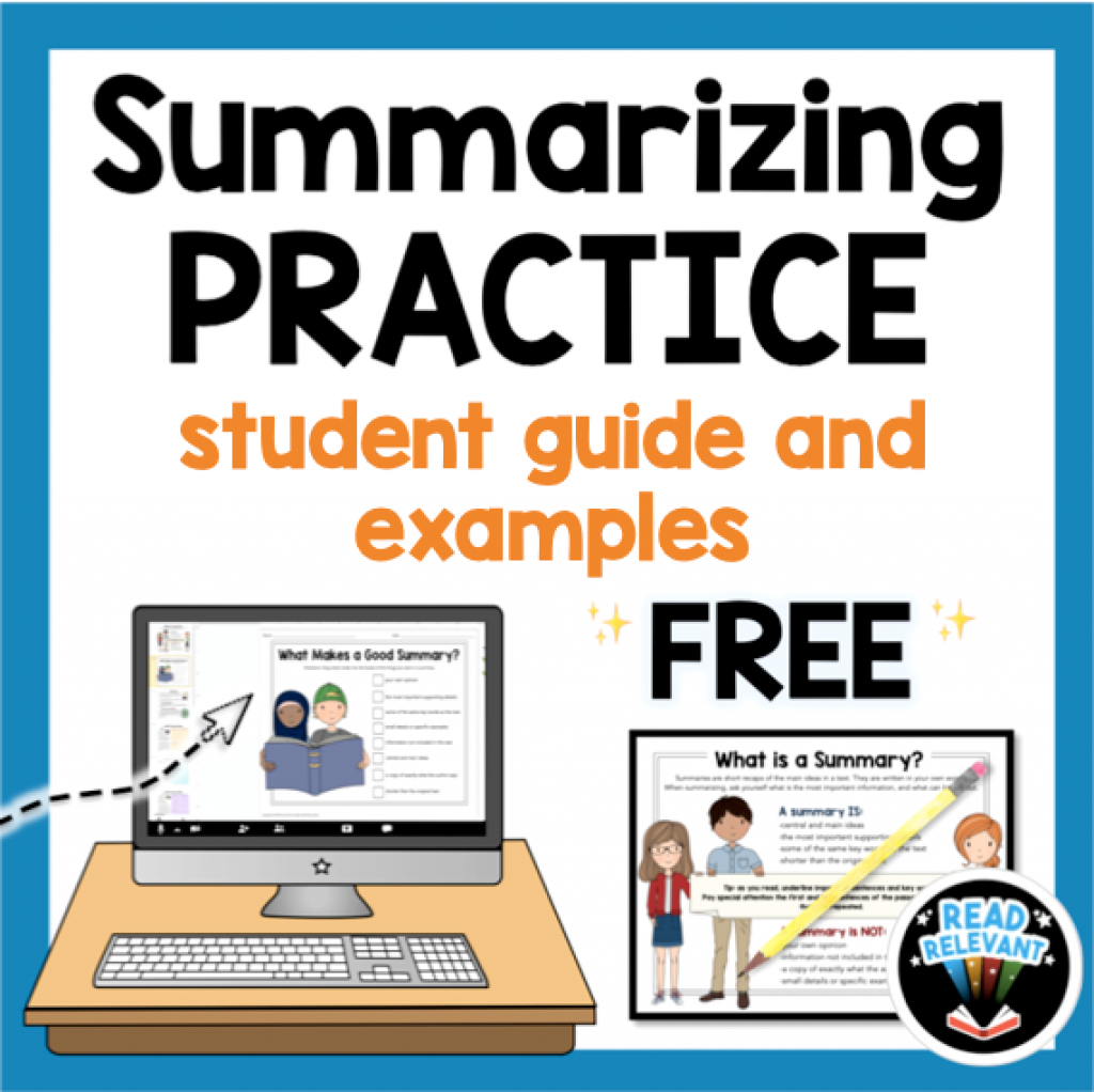 Free Summarizing practice packet student guide and examples to introduce summarizing