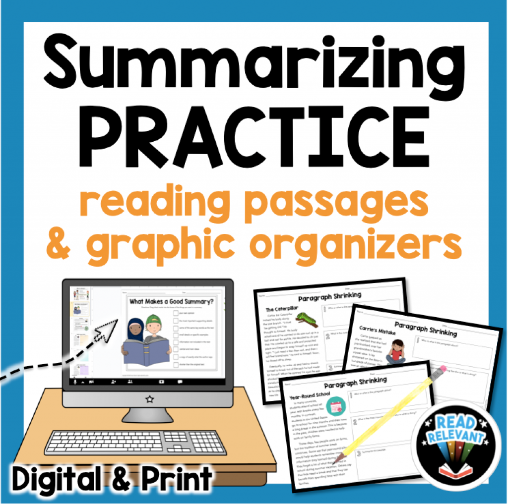 Summarizing practice reading passages and graphic organizers