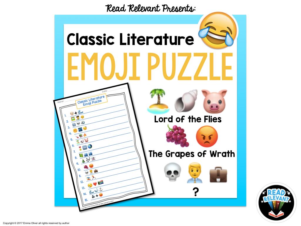 Free ELA downloads: Emoji puzzle literature