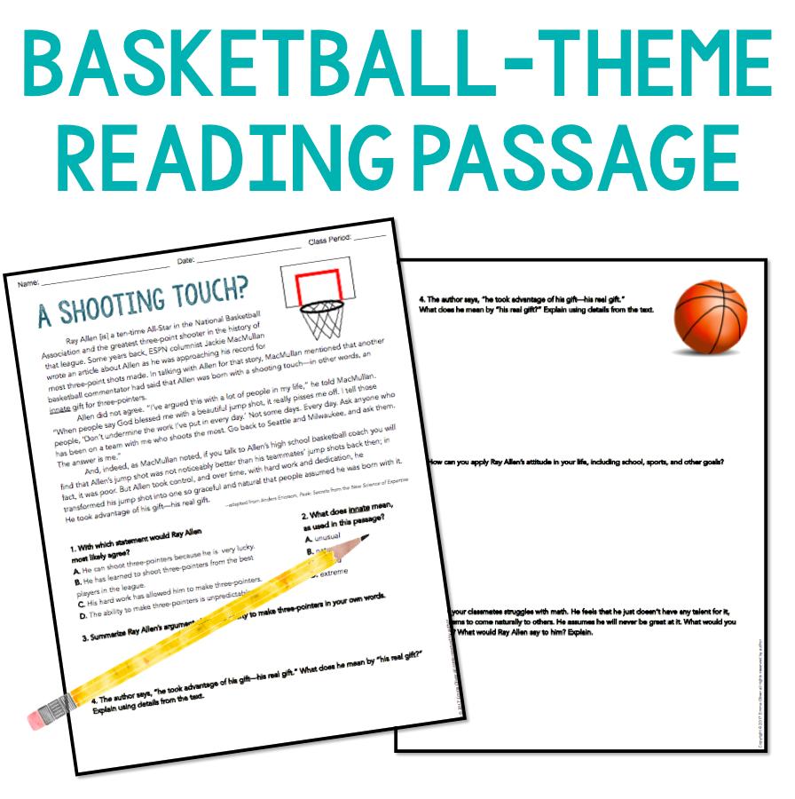 Free ELA downloads: growth mindset reading comprehension activity worksheet