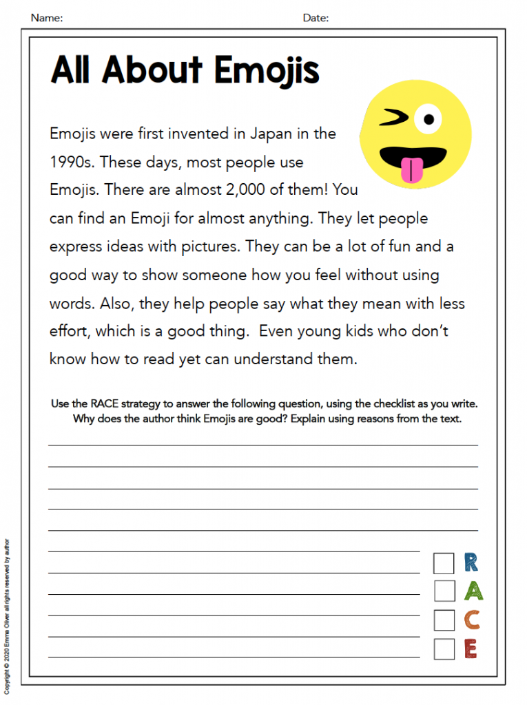 RACE Writing Strategy Free worksheet