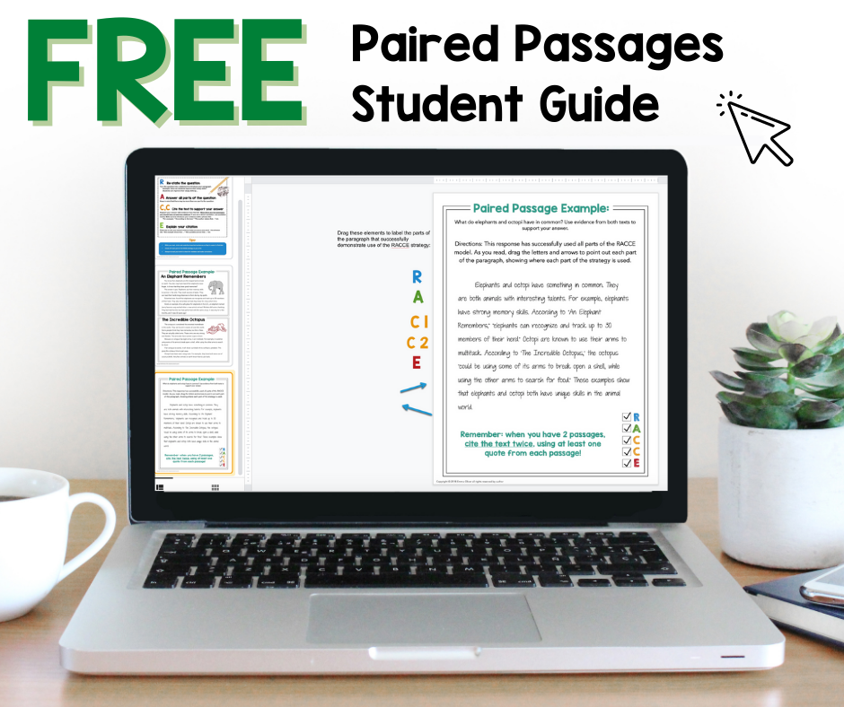 free digital ELA activity for paired passages