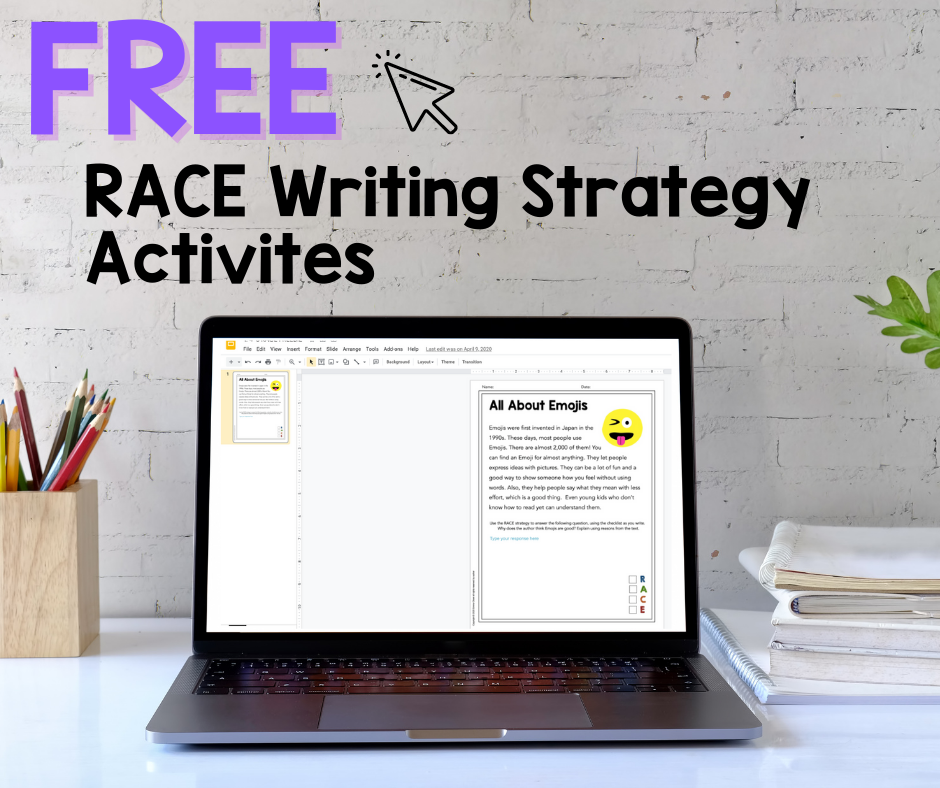 RACE Writing Strategy activity.