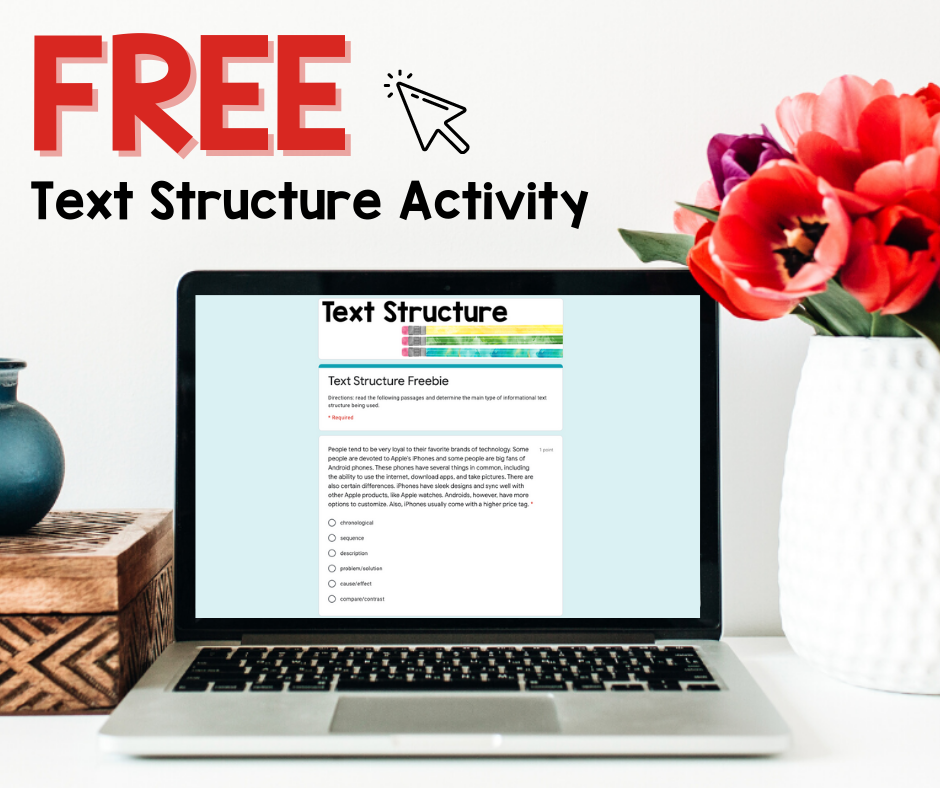 Free digital activity for text structure